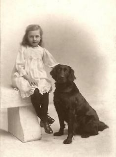 FLAT COATED RETRIEVER AND LITTLE GIRL 8 x 10 DOG PRINT MOUNTED READY