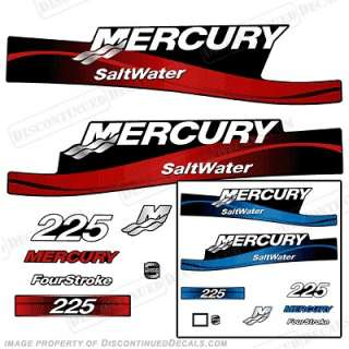 mercury 225hp 4 stroke outboard decal kit blue red 225