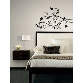 New BLACK & SILVER TREE BRANCH WALL DECALS Leaves Stickers Modern Room
