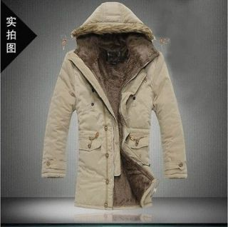 New Mens Thicken Slim Hooded Parka Snorkel faux fur collar Jacket