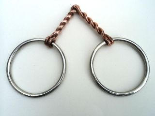 Loose Ring Snaffle Bit Red Copper Twisted Wire Mouth Piece S Steel