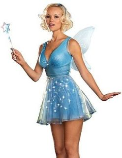 New Light Up Blue Fairy Pixie Adult Halloween Costume