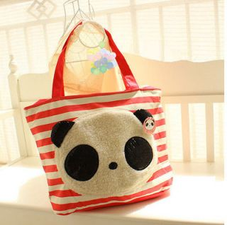 New Cute Panda Bear Canvas Shopping Tote HandBag Shoulder Bag Red