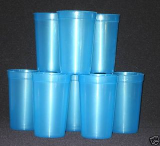 10 20oz TRANSLUCENT BLUE PLASTIC DRINKING GLASSES CUPS