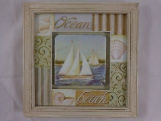 Sailboat Home Décor Framed Mixed Media Tile & Wood Wall Hanging 8