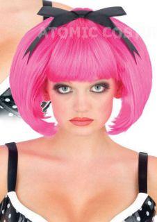 Creepy Pink Bob Wig Womens Short Doll Haircut Dolly Black Bow Gothic