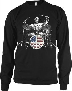 101 Mens Thermal Shirt, Lincoln Playing Drum Set Flag Peace Sign T