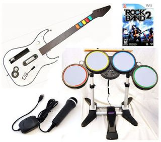 NEW Nintendo Wii ROCK BAND 2 Game Set w/Wireless Guitar Drums Mic