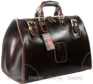 Genuine Cowhide Leather Travel Bag Luggage Duffle Gym Bags Case