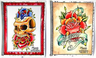 BOOKS Manny Tattoo Sketchbook Drawings Tiki Rose Skull Outlines for