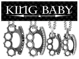 King Baby Studios BRASS KNUCKLES cz Pendant Necklace