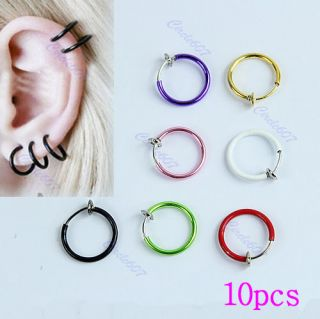 Clip Ball Fake Hoop Body Nose Lip Ear Ring Piercing Stud Earring Punk