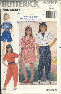 Butterick #5287 Girls jacket top shorts harem pants sz 7   8   10