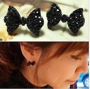 Cute Black Rhinestone Crystal Bowknot Bow Tie Stud Earring NEW
