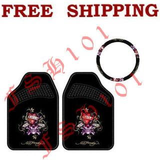 New Set Ed Hardy Love Kills Slowly Car Truck Steering Wheel Cover