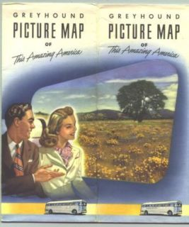 1946 Greyhound Bus Lines Picture Map of US /Brochure with routes/Great