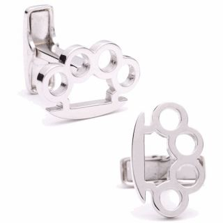 Sterling Brass Knuckles Cufflinks NIB Free Shipping!