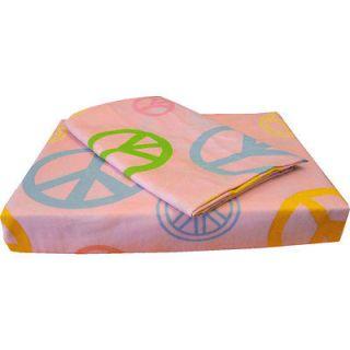 3pc PINK PEACE SIGNS Extra Long TWIN SHEET SET   Deep Pocket Hippie