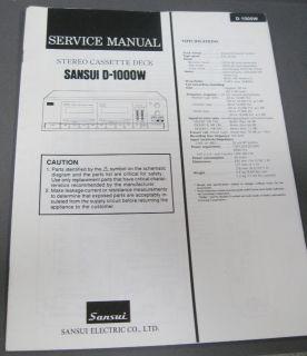 Service Manual SANSUI D 1000W Stereo Cassette Deck ORIGINAL MANUAL
