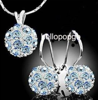 18K White Gold GP Swarovski Crystal Blue Necklace AND Earrings set