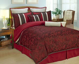 12 pcs Set Queen Dark Red Cherry Blossom Comforter set With Matching