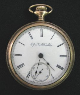 ANTIQUE POCKET WATCH ELGIN NATL WATCH CO GOLD PLATED WORKING  SEE x