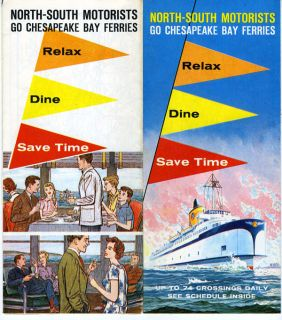 1961 Color Brochure & Map Chesapeake Bay Ferries North South Motorists