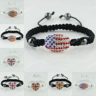 UNION JACK / USA FLAG CRYSTAL SILVER/GOLD COLOR CONNECTOR ADJUSTABLE