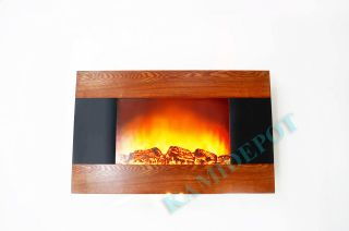 Wood Trim Panel Electric Fireplace Heater Wall Mount style Flame Light