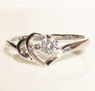 Heart Swarovski crystal Gold GP Ring engagement Promise christmas gift