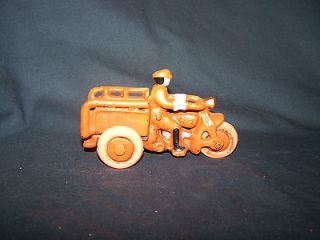 Collectible Cast Iron Orange 3 Wheel Motorcycle with Rider