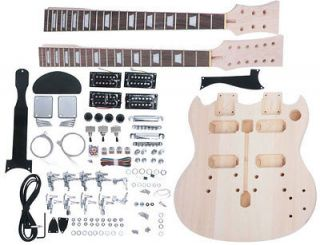 SUPPLY DOUBLE NECK ELECTRIC GUITAR BUILDER KIT. MAKES 12/6 STRING SG