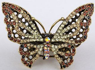 Gold brown swarovski crystal butterfly pendant pin brooch jewelry