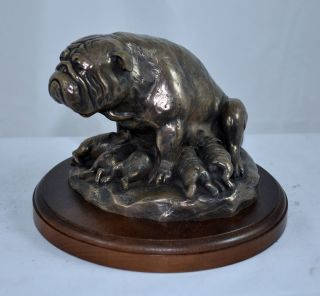 ENGLISH BRITISH BULLDOG with puppies statue figurine sculpture Limited