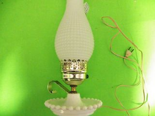 Milk Glass Boudior Table Lamp Hobnail Shade Beaded Base Vintage