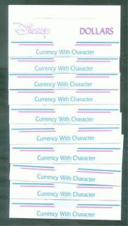 Disney Dollar Currency With Character Envelopes