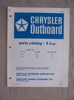 1968 Chrysler Outboard Parts Manual 5 HP Model 501 511 501 512 Owner