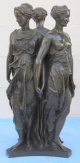 19th C. Barbedienne French Bronze Statue Three Graces FINE & RARE