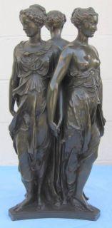 19th C. Barbedienne French Bronze Statue Three Graces FINE & RARE