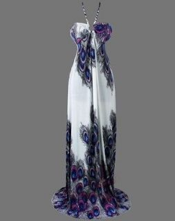 Floral Printed Peacock Halter Rope Maxi Dresses S Purple