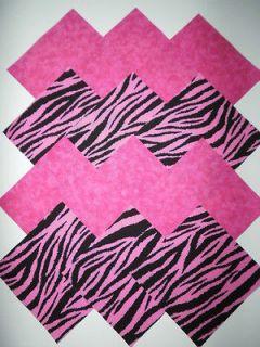32 Hot Pink Zebra Print 5 Fabric Quilt Squares