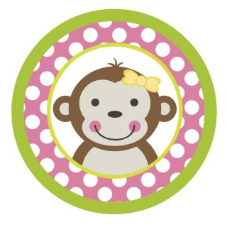 Mod Monkey Girl {Pink Polka Dots} Edible ROUND Cake Topper Decoration