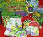 Jungle Buddies 1st Birthday Party Pack w/16 invites, 24 red plates, 32