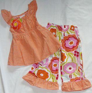 Chatti Patti Boutique Girl Peasant Shirt Top Pants Ruffles Set Check