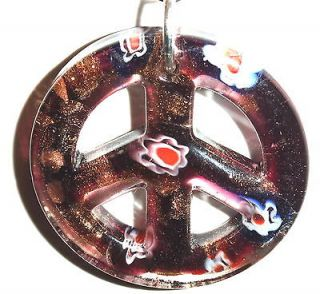 LIGHT LAMP CEILING FAN PULL PEACE SIGN GLASS PURPLE GOLDSAND 40MM