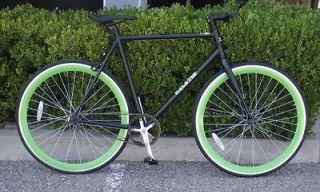Fixed Gear Bike Fixie Bike Road Bicycle 58cm Black w Deep 43mm Green