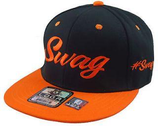 NEW VINTAGE SWAG FLAT BILL SNAPBACK BASEBALL CAP HAT BLACK/ORANGE