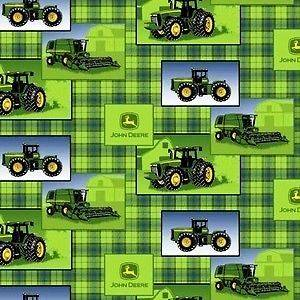 John Deere Tractor Patch on Green Plaid Half Yard Fleece Fabric