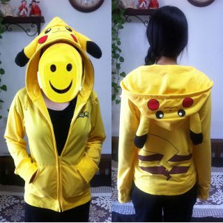 Pikachu Hoodie JP Anime Pokemon Zips Long Sleeve Hoodies Jacket Top