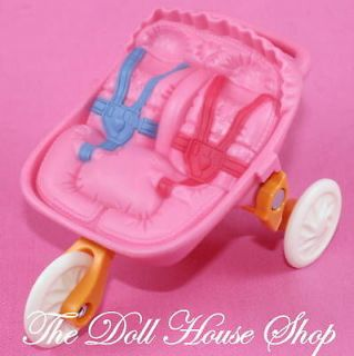 Fisher Price Loving Family Dollhouse Pink Jogger Twin Baby Doll Pram
